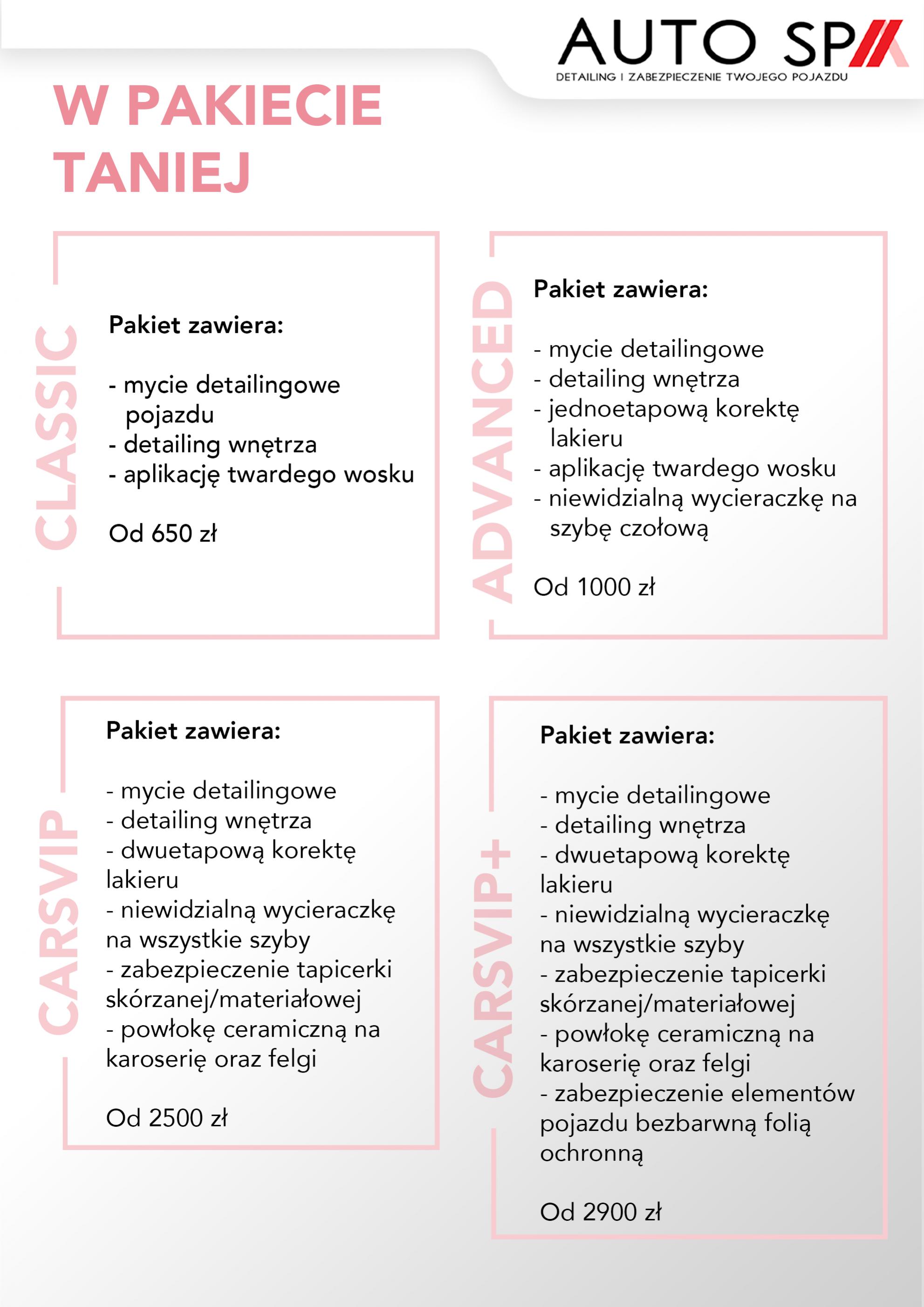 Pakiety usług AutoSPA